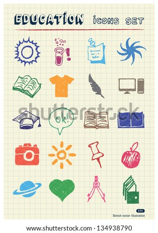 School and education web icons set drawn by color pencils. Hand drawn vector elements pack isolated on paper