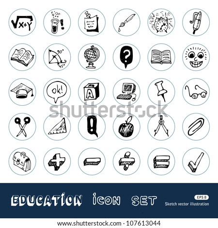 School and education web icons set. Hand drawn sketch illustration isolated on white background - stock vector