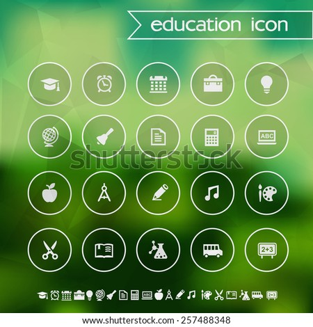 School and educational icons on blurred background - stock vector