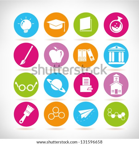school and science icon set, colorful icons set