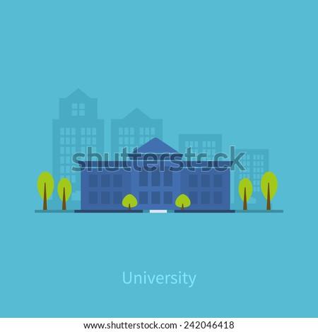 School and university building icon - stock vector