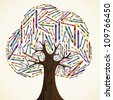 School art education concept tree made with crayons. Vector file layered for easy manipulation and custom coloring. - stock vector