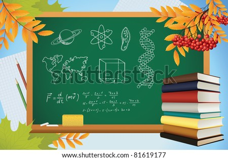 school autumn background with symbols on blackboard, books and yellow leves, vector - stock vector