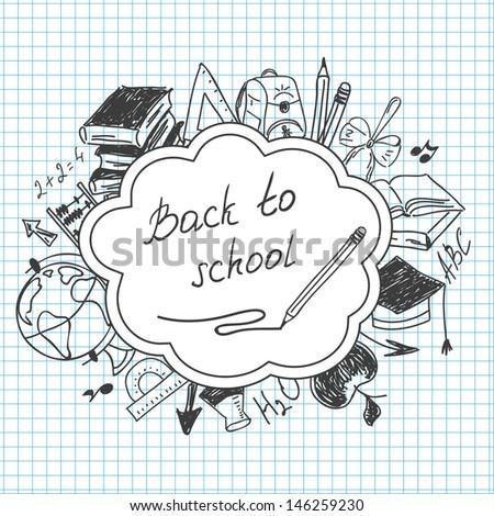 School background of school supplies - stock vector