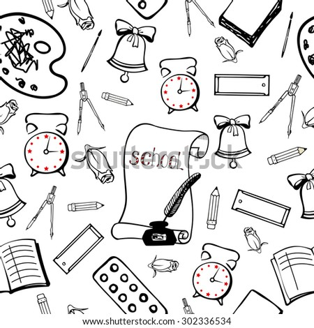 School background with accessories schoolboy. Seamless pattern hand lineart - stock vector