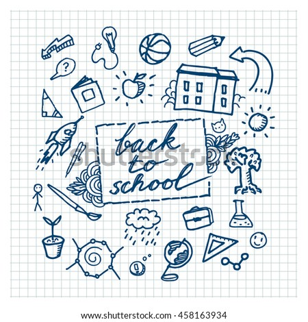 School background with hand drawn school supplies. Back to school. - stock vector
