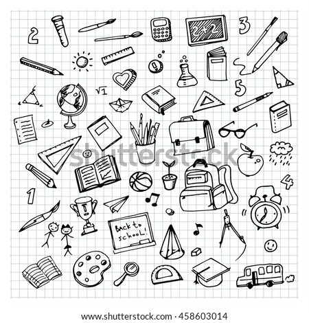 School background with hand drawn school supplies. Back to school. Freehand drawing school items on a sheet of exercise book. - stock vector