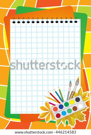 School background with notebook sheet