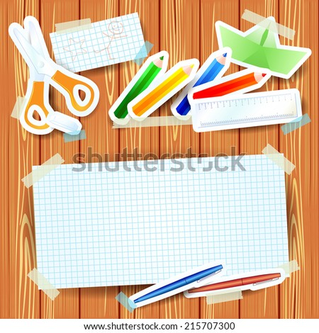 School background with paper elements and blank paper, vector eps 10 - stock vector