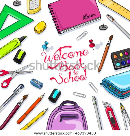 School background with school supplies. Vector illustration for your design