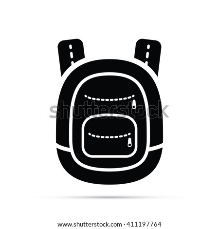 School Backpack Icon - stock vector