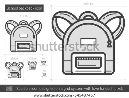 School backpack vector line icon isolated on white background. School backpack line icon for infographic, website or app. Scalable icon designed on a grid system.