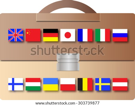 School backpack with different countries flags - foreign languages school advertisement pattern
