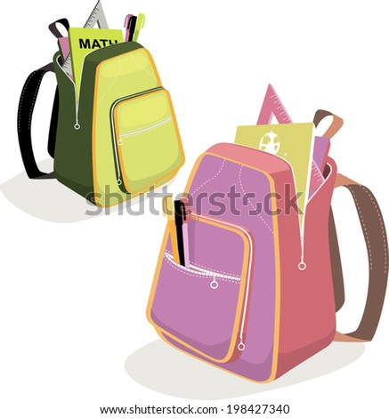 School backpacks for boys and girls with tools and books - stock vector