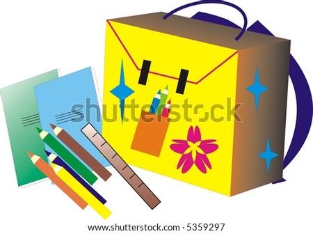 School bag - stock vector