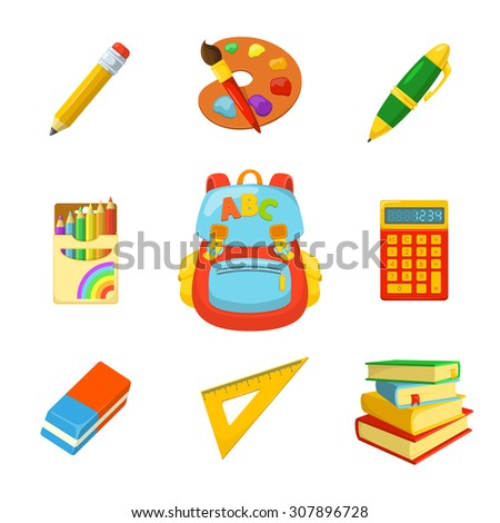 School bag and stuff. Children's backpack and stationery. School year beginning. Education design elements.  - stock vector