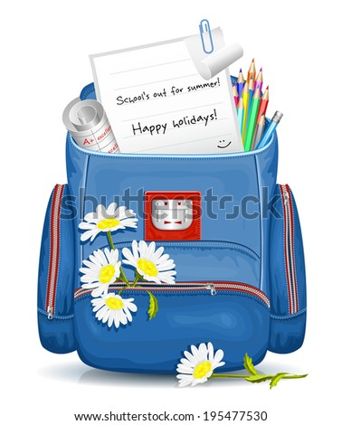 School bag with education traditional objects and flowers. Happy summer holidays! Vector illustration. - stock vector