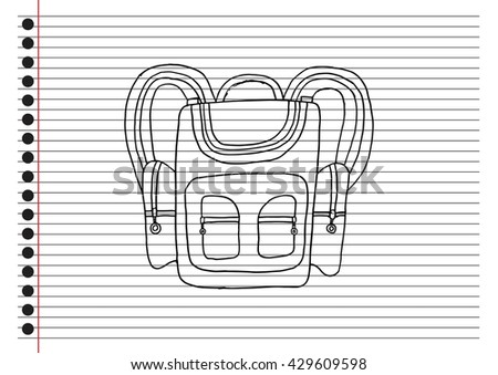 School bag with paper background - stock vector