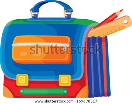 school bag with stationery