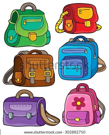 School bags theme set 1 - eps10 vector illustration. - stock vector