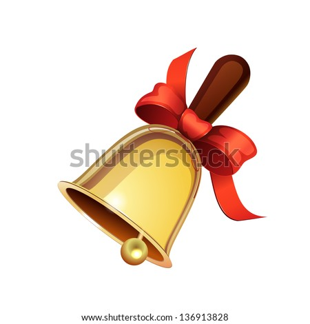 School bell with red ribbon isolated on white background - stock vector
