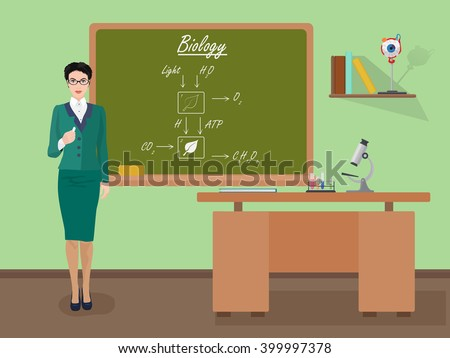 School Biology female teacher in audience class concept. Students and teachers science and education knowledge vector illustration. Biology teacher concept, Teacher in classroom, Teacher in class. - stock vector