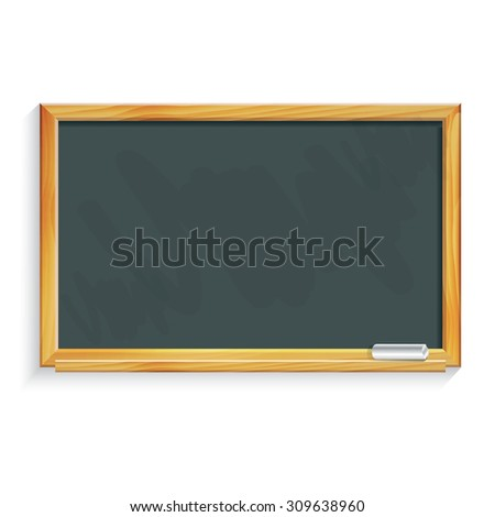School black chalkboard with chalk. Vector illustration. - stock vector