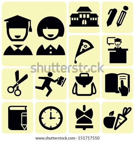 School black icons - stock vector