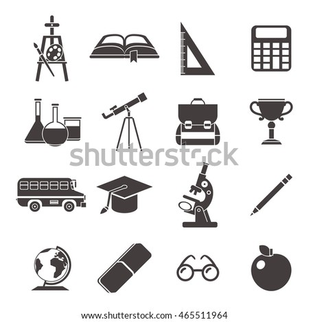 School black isolated icon set with element of school life and need to study accessories vector illustration