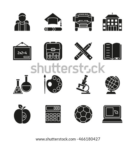 School black white icons set with pupil bus building ball laptop calculator backpack globe isolated vector illustration