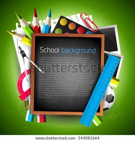 School blackboard with school supplies and copyspace  - stock vector