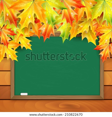 School board and autumn maple leaves on a background of a wooden wall - stock vector