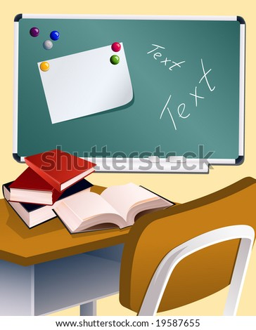 School board and books, vector illusration, EPS file included - stock vector
