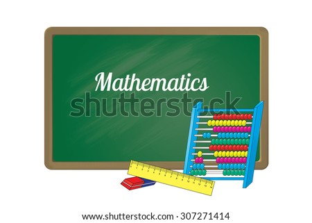 School board with an inscription and a set of accessories for a lesson of Mathematics - stock vector
