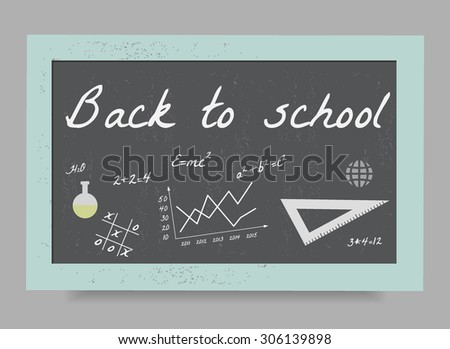 School board with the formulas and equations, Back to school - stock vector