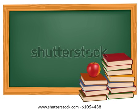 School books with apple in front of the blackboard. Vector. - stock vector