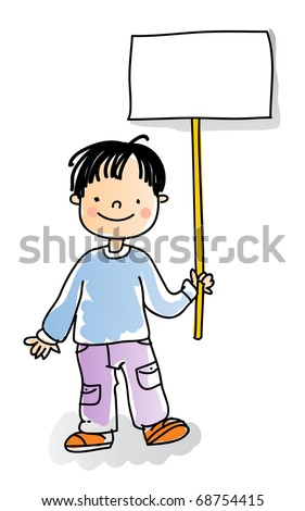 school boy holding blank sign,cartoon kids watercolor style series. grouped and layered for easy editing - stock vector