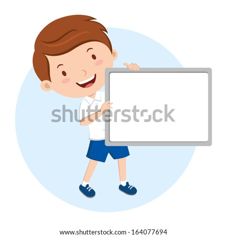 School boy holding whiteboard. He is giving a presentation. - stock vector