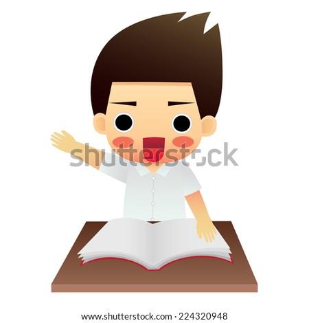 school boy sitting on table - stock vector