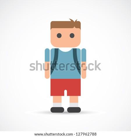 School boy - vector illustration - stock vector