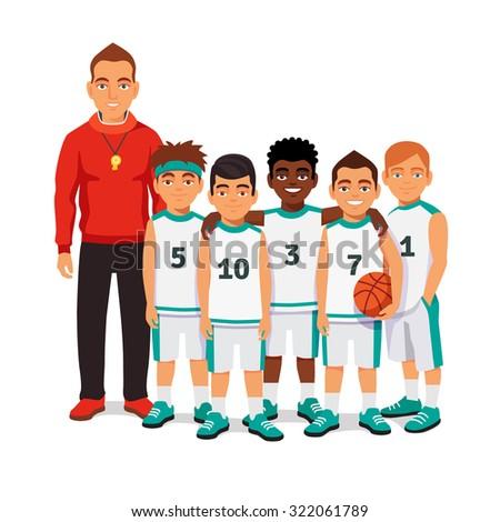 School Boys Basketball Team Standing Their Stock Vector