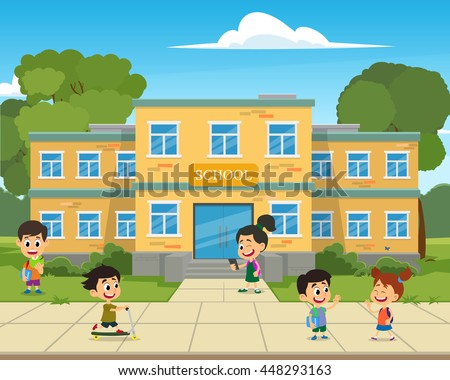 school building and children in the front yard of the school. vector illustration. children playing in the school yard. - stock vector