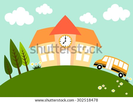 School building and school bus on a green hill along with trees and cute flowers on a breezy day. - stock vector