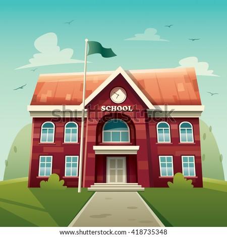 School building. Education. - stock vector
