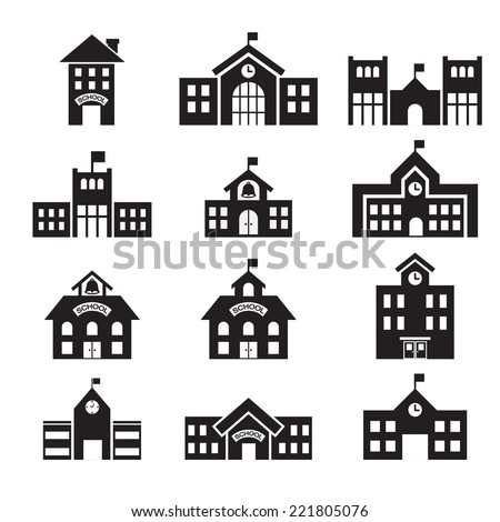 School Building Icon Stock Vector (Royalty Free) 221805076 ... Construction House Clip Art Black And White