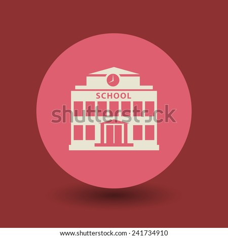 School building icon or sign, vector illustration - stock vector