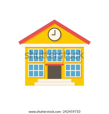 School building, modern flat icon - stock vector