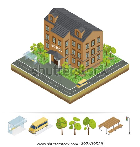 School Building. Modern School. Urban Scene. School Bus. School Facade. Isometric Building. Back to School. Vector illustration - stock vector