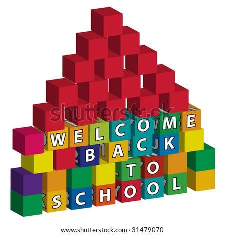 School building of  many toy blocks - stock vector