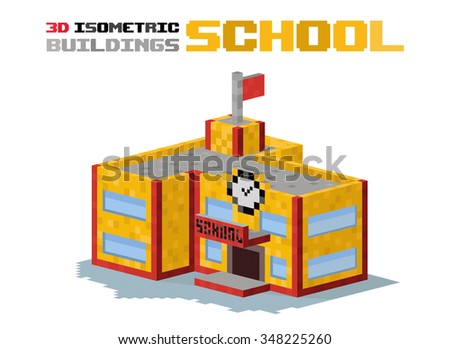 School building vector illustration. 3d school building isolated on white background. School or university building. High school building, school vector, school building. 3d isometric view building - stock vector